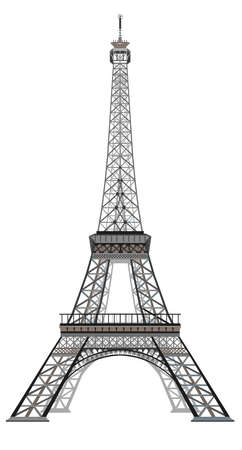 Vector illustration grey and black Eiffel tower isolated on white background