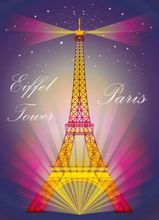 Vectorillustratie: De kleurrijke toren van Eiffel in nacht met schijnwerpers en srars op blauwe en purpere achtergrond