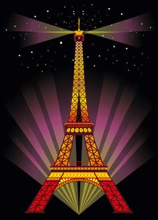 벡터 일러스트 레이 션 : 밤에 스포트 라이트와 srars 검은 배경에 다채로운 에펠 탑