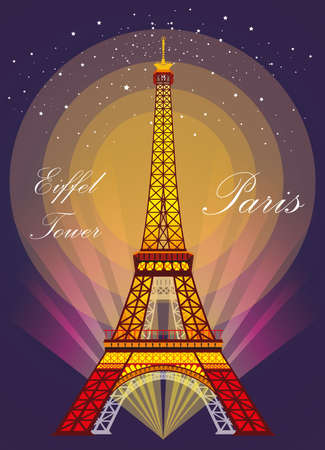 Vector Illustration: Colorful  Eiffel tower in night with spotlights and srars on dark purple background Ilustracja