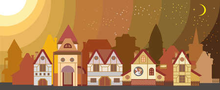 Background with colorful cartoon houses in European style isolated