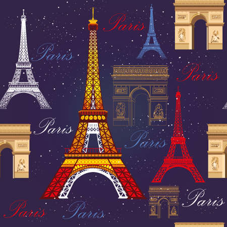 Seamless pattern with colorful Eiffel tower, Triumphal arch and stars on blue background