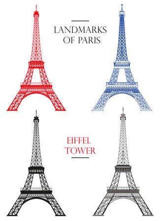 Set van vector geïsoleerde Eiffeltoren in zwart, wit en kleuren: contour en silhouet op witte achtergrond
