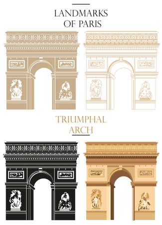 Verzameling van vector geïsoleerde Triomfboog in zwart, wit en kleuren: contour en silhouet op witte achtergrond