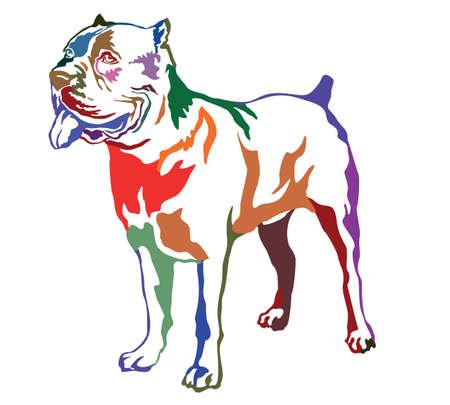 Decoratief contourportret van status in profielhond Corsuscuriano van het Riet, kleurrijke vector geïsoleerde illustratie op witte achtergrond