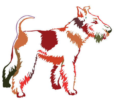 Decorative contour portrait of standing in profile dog Fox Terrier,colorful vector isolated illustration on white background Ilustracja