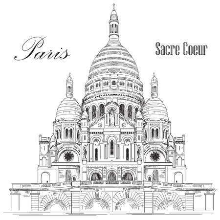 Sacred basilica Sacre Coeur in Paris, France vector hand drawing illustration in black color isolated on white background Vettoriali