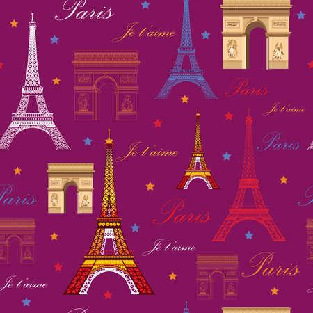 ピンクの背景 (カラフルなエッフェル塔と凱旋門) パリのランドマークとのシームレスなパターン  イラスト・ベクター素材