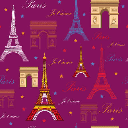 Seamless pattern with  landmarks of Paris (colorful Eiffel tower and Triumphal arch) on pink background Zdjęcie Seryjne - 82971003