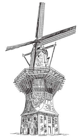 Windmill De Gooyer in Amsterdam (Netherlands, Holland) isolated hand drawing vector illustration in black color on white background Ilustração