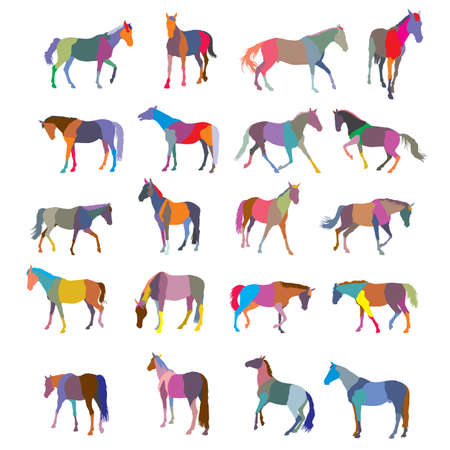 Set of mosaic vector colorful trotting and galloping horses silhouettes isolated on white background Illustration