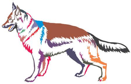 Kleurrijk decoratief portret van status in profiel Duitse herder, vector geïsoleerde illustratie op witte achtergrond