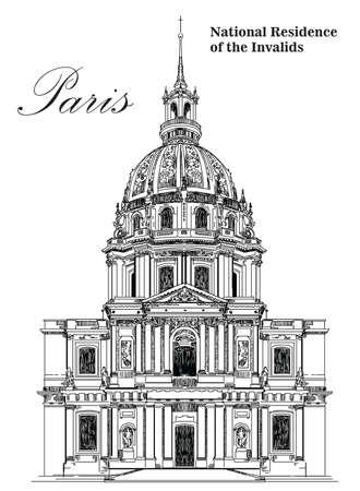 Nationale woonplaats van de invaliden (mijl paal van Parijs) - vector hand tekening illustratie in zwarte kleur op witte achtergrond Stock Illustratie