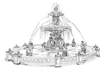 白い背景の分離された黒い色で図を描く場所デ ラ コンコルド (パリのランドマーク) ベクトル手の噴水