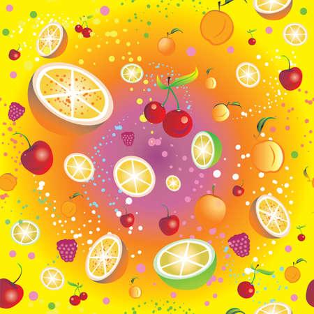 Naadloos patroon met fruit en bessen (kers, sinaasappel, kalk, abrikoos, framboos) op kleurrijke achtergrond