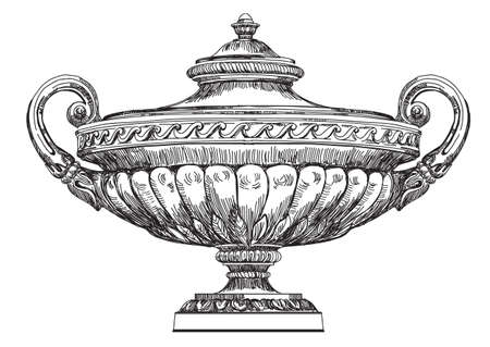 Ancient carving street vase vector hand drawing illustration in black color isolated on white background