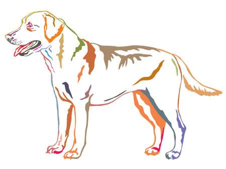 프로필 개에서 서의 화려한 장식 초상화 래브라도 리트리버, 흰색 배경에 벡터 격리 된 그림