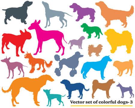 白地にカラフルな孤立したさまざまな品種犬シルエットのベクトルを設定します。その 3  イラスト・ベクター素材