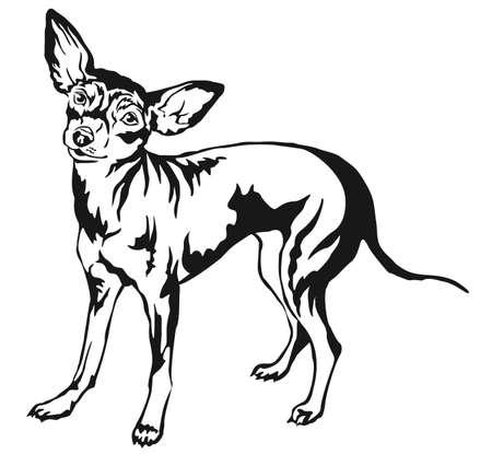 프로필에 서의 장식 초상화 프라하 Ratter, 벡터 격리 된 그림 흰색 배경에 검은 색
