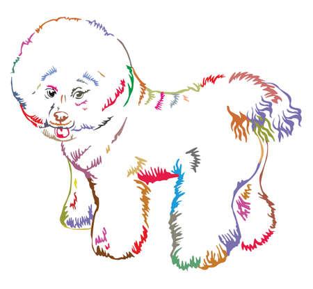 Colorful decorative portrait of standing in profile Bichon Frise.