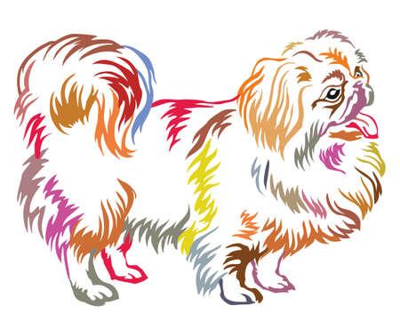 Colorful decorative portrait of standing in profile Pekingese. Illustration