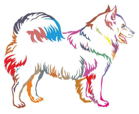 Colorful decorative portrait of standing in profile Samoyed Dog. Illustration
