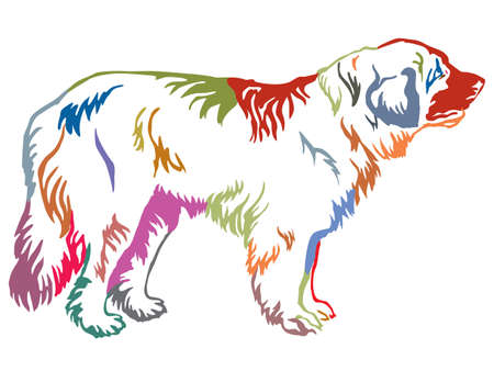Colorful contour decorative portrait of standing in profile dog Leonberger.