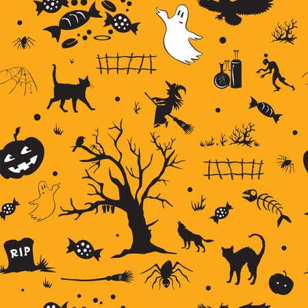 Halloween-patroon met spook, graf, snoep, boom, spin, pompoen, heks, op oranje achtergrond. Stock Illustratie