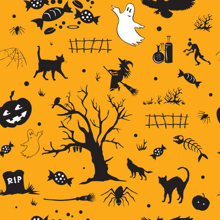 Halloween pattern with ghost, tomb, , candy, tree, spider, pumpkin, witch, on orange backdrop.