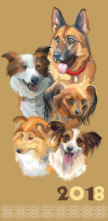 Set of colorful portraits of dog breeds isolated on beige backdrop.