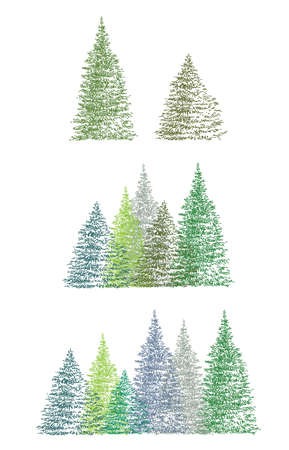 Set of green hand drawing cristmas tree isolated on white backdrop. Illustration