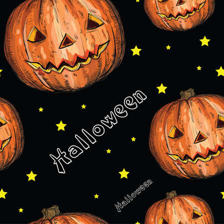Halloween seamless pattern with orange pumpkin and stars on black background