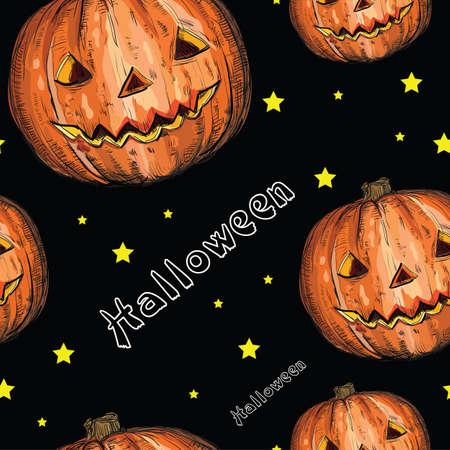 Het naadloze patroon van Halloween met oranje pompoen en sterren op zwarte achtergrond