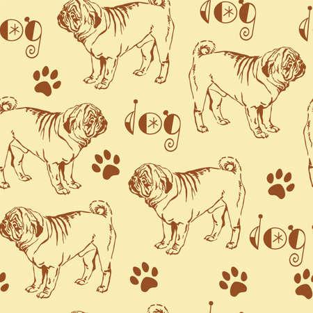 장식용 컨투어와 원활한 패턴 갈색 개 pug 베이지 색 배경 일러스트