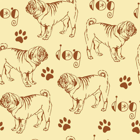 Seamless pattern with decorative contour brown dog pug on beige background