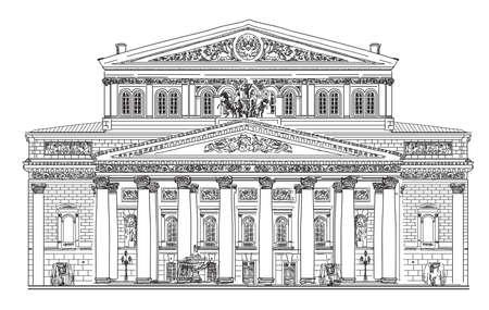 모스크바에서 큰 극장 검정색 배경에 흰색 컬러로 고립 된 그림 그리기 벡터 손 스톡 콘텐츠 - 89511943