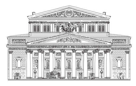 Big Theater in Moscow vector hand drawing isolated illustration in white color on black background