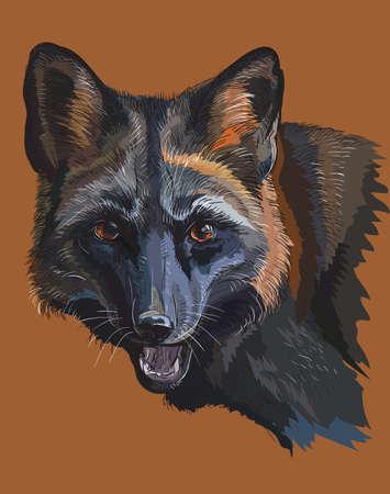 갈색 배경에 고립 된 검은 여우의 다채로운 벡터 초상화