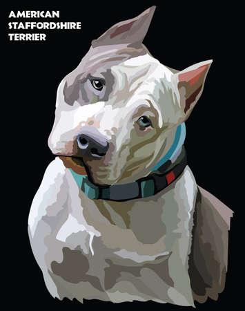 犬の色の肖像画。  イラスト・ベクター素材