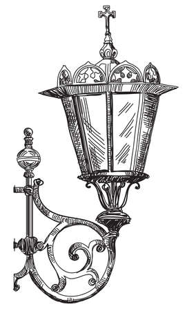 Hand drawing isolated illustration of old street lamp. Illustration