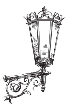 Vector hand drawing isolated old street lantern monochrome illustration on white background