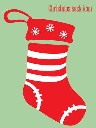 Weihnachtssockenikone in den roten und weißen Farben lokalisiert auf grüner Illustration. Standard-Bild - 91760844