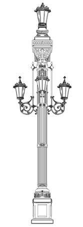 Oude lantaarnillustratie. Stock Illustratie