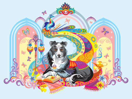 Colorful image with dog (border collie) isolated on blue illustration.