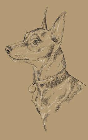 강아지 초상화 손 드로잉 흑백 그림입니다.