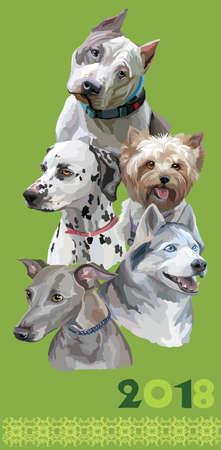 Verticale ansichtkaart met honden van verschillende rassen.