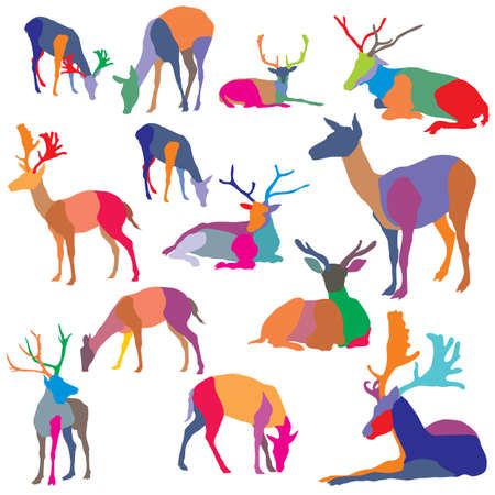 Set of colorful mosaic standing and lying deer silhouettes.