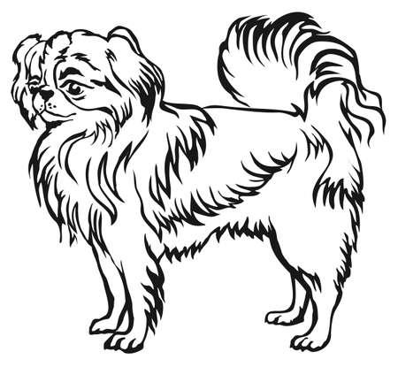 Decoratief portret van status in profiel Japanse Kin, vector geïsoleerde illustratie in zwarte kleur op witte achtergrond Stock Illustratie