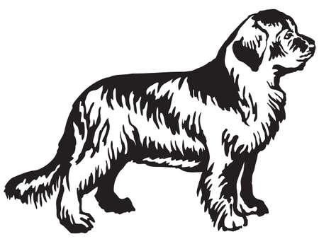 Portrait décoratif de debout dans le profil de chien de Terre-Neuve, illustration isolée de vecteur en couleur noire sur fond blanc