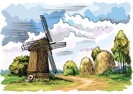 Landscape with windmill, trees and haystacks on meadow, isolated hand drawing colorful vector illustration.